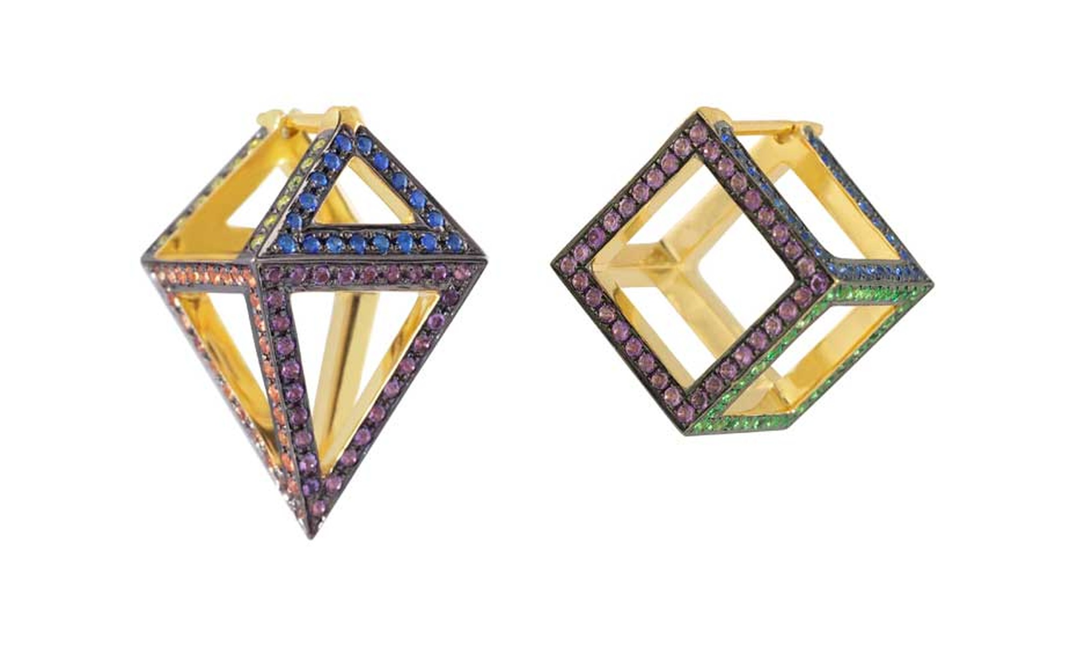 Noor Fares 3D Octahedron and Cube earrings in yellow gold with coloured sapphires from the Geometry 101 Rainbow collection.