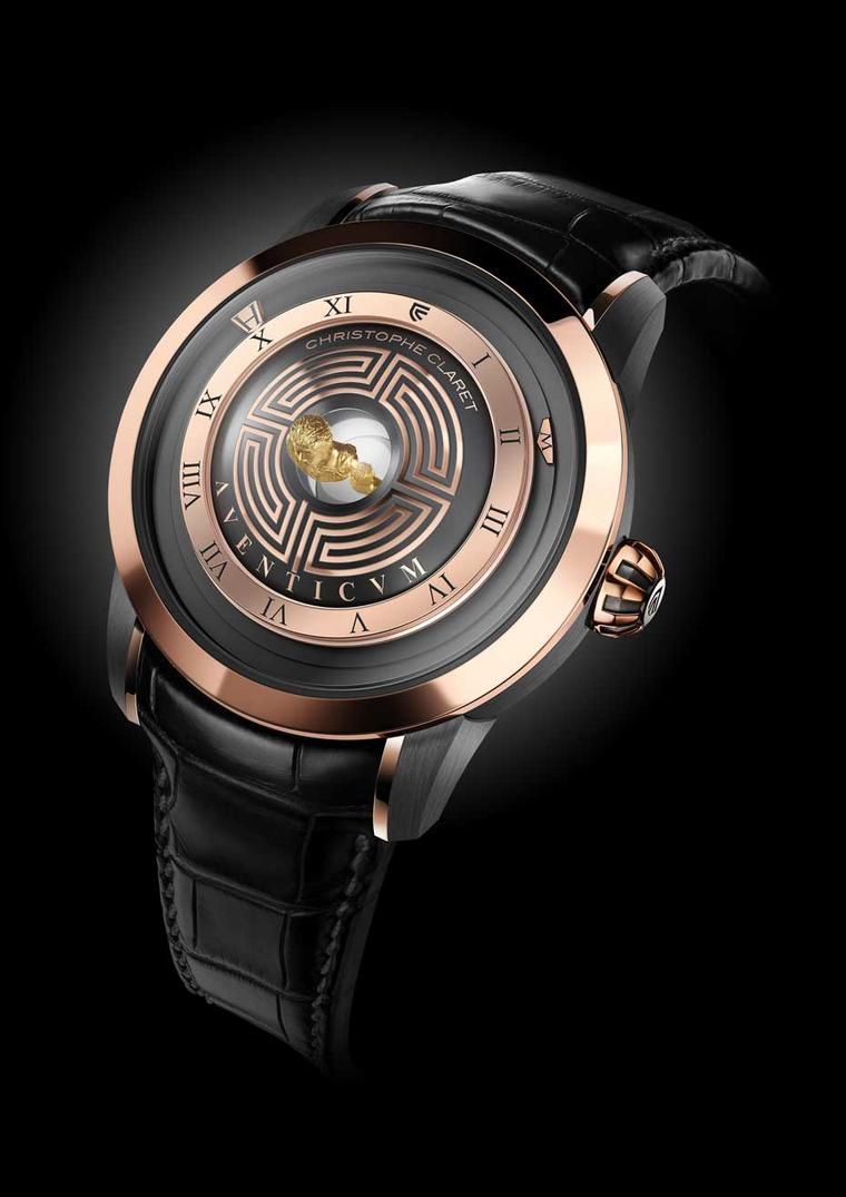 The Christophe Claret Aventicum watch with mirascope dial in red gold and anthracite PVD-treated grade 5 titanium.