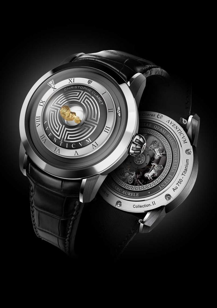 Christophe Claret's new Aventicum watch will be available in two limited editions: 68 pieces in red gold and anthracite PVD-treated titanium; and 38 pieces in palladium-rich white gold and anthracite PVD-treated titanium.
