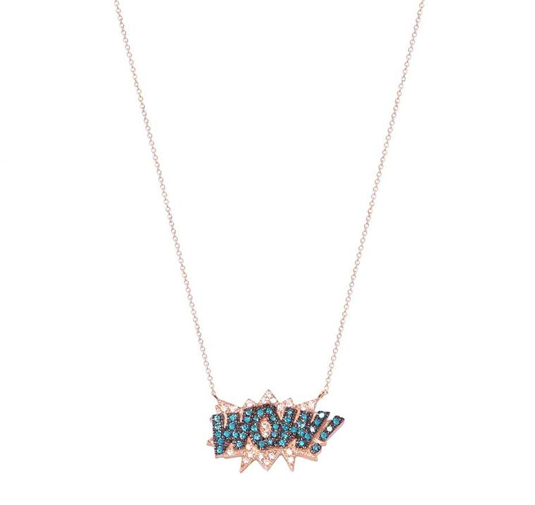 Diane Kordas Wow necklace with white and blue diamonds on a rose gold chain.