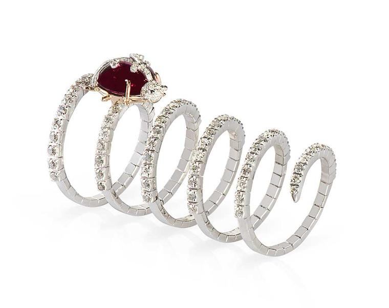 Gismondi Ladybug ruby ring in 18ct gold with diamonds the Twirl collection.