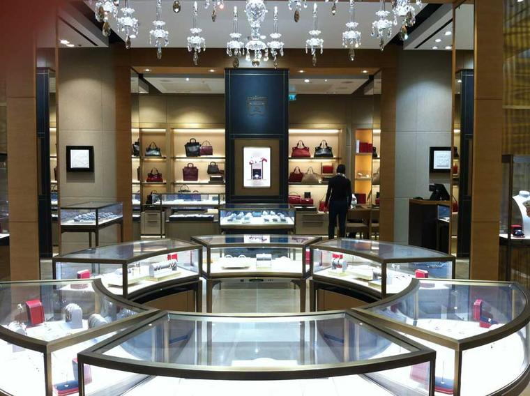 The interior of the newly opened Cartier boutique at Heathrow's Terminal 5, conveniently located just beyond the security checks.