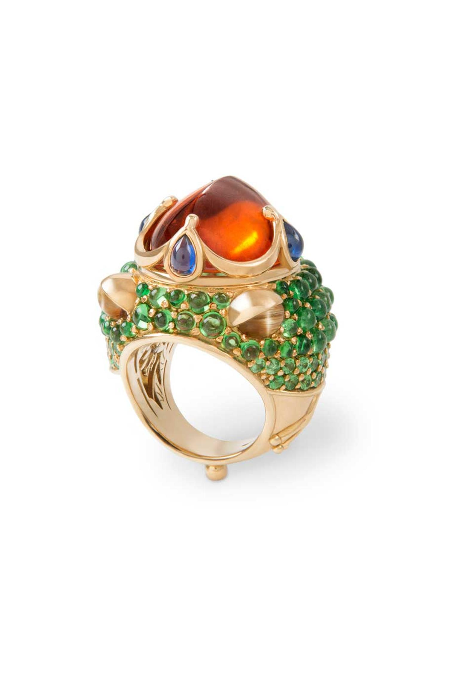 Temple St. Clair's Mythical Creatures from the Golden Menagerie collection contains 9 pieces, including this Frog Prince ring set with a mandarin garnet, tsavorites, sapphires and cat's eyes.