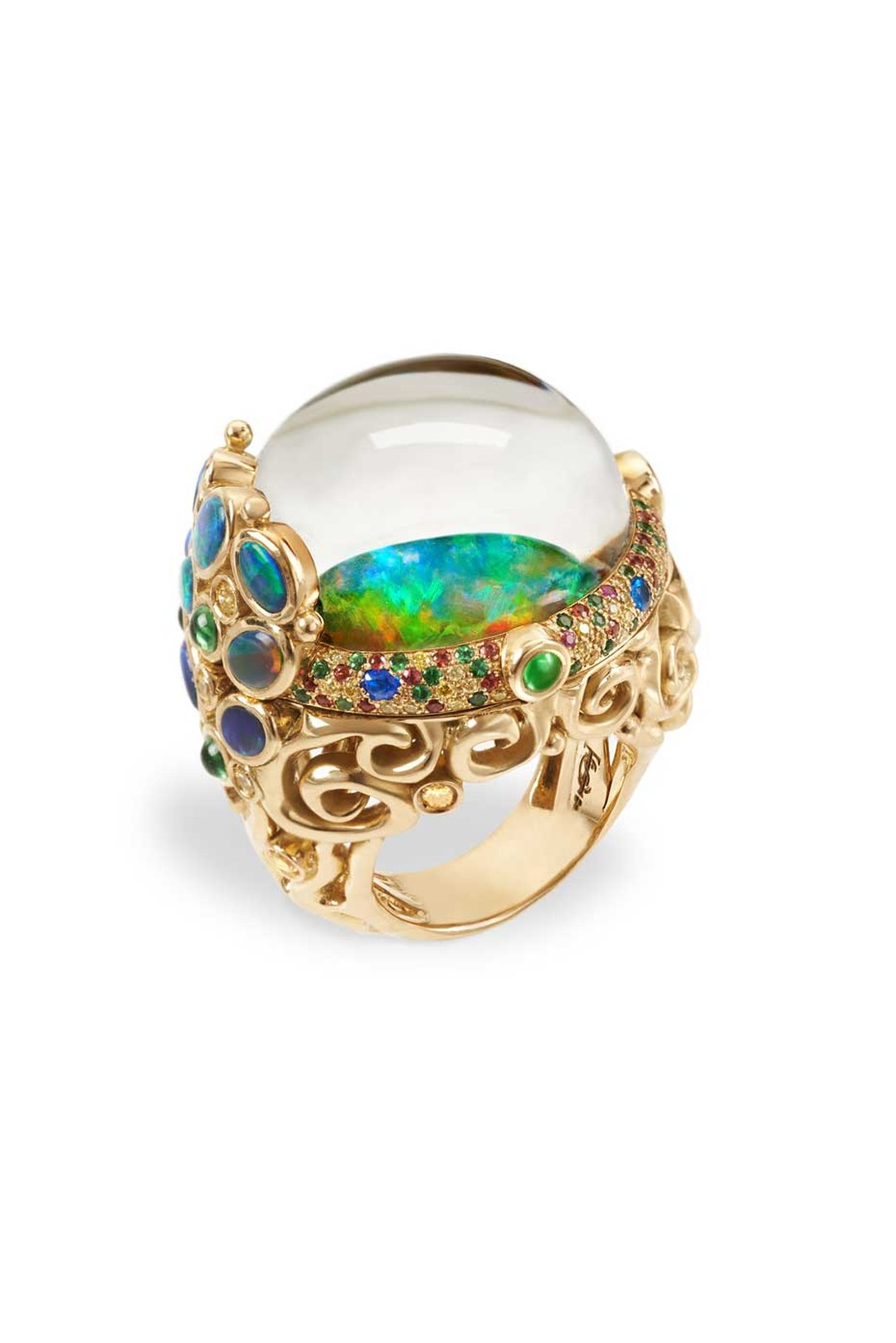 Temple St. Clair Medusa Moon Jellyfish ring featuring a rare, luminous Australian Andamooka opal, Lightning Ridge black opals, sapphires, tsavorites, hauyne and rock crystal.