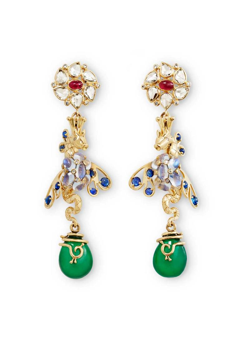 Temple St. Clair Sea Dragon earrings with emeralds, rubies, sapphires, royal blue moonstones and diamonds.