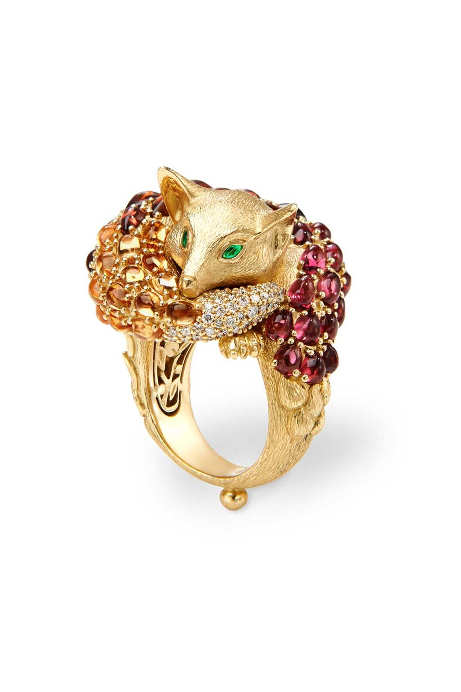 The help of a Florentine chiseler was required to achieve the textured, fur-like surface on this stunning Temple St. Clair Sleeping Fox ring.