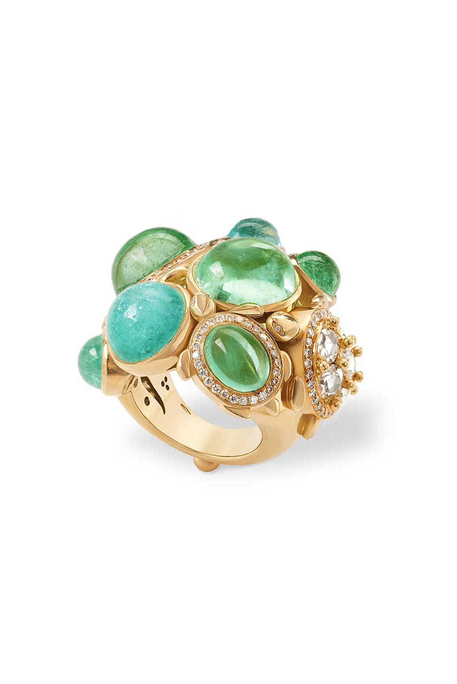 Temple St. Clair Turtles on the Rocks Ring set with Paraiba tourmalines and diamonds.