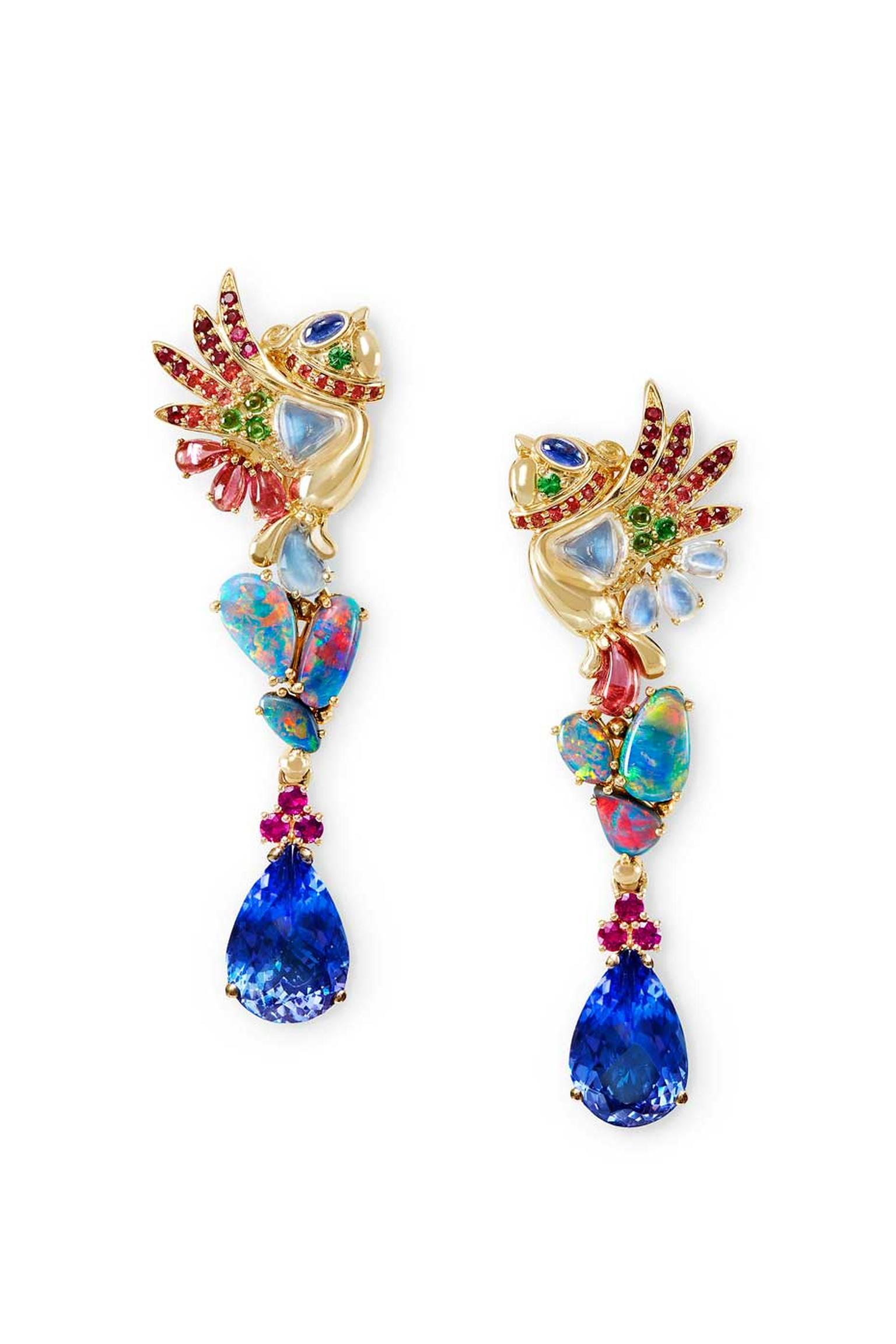 Temple St. Clair Phoenix Chicks earrings with tanzanite, black opal, tourmaline, moonstone, tsavorite and sapphire.