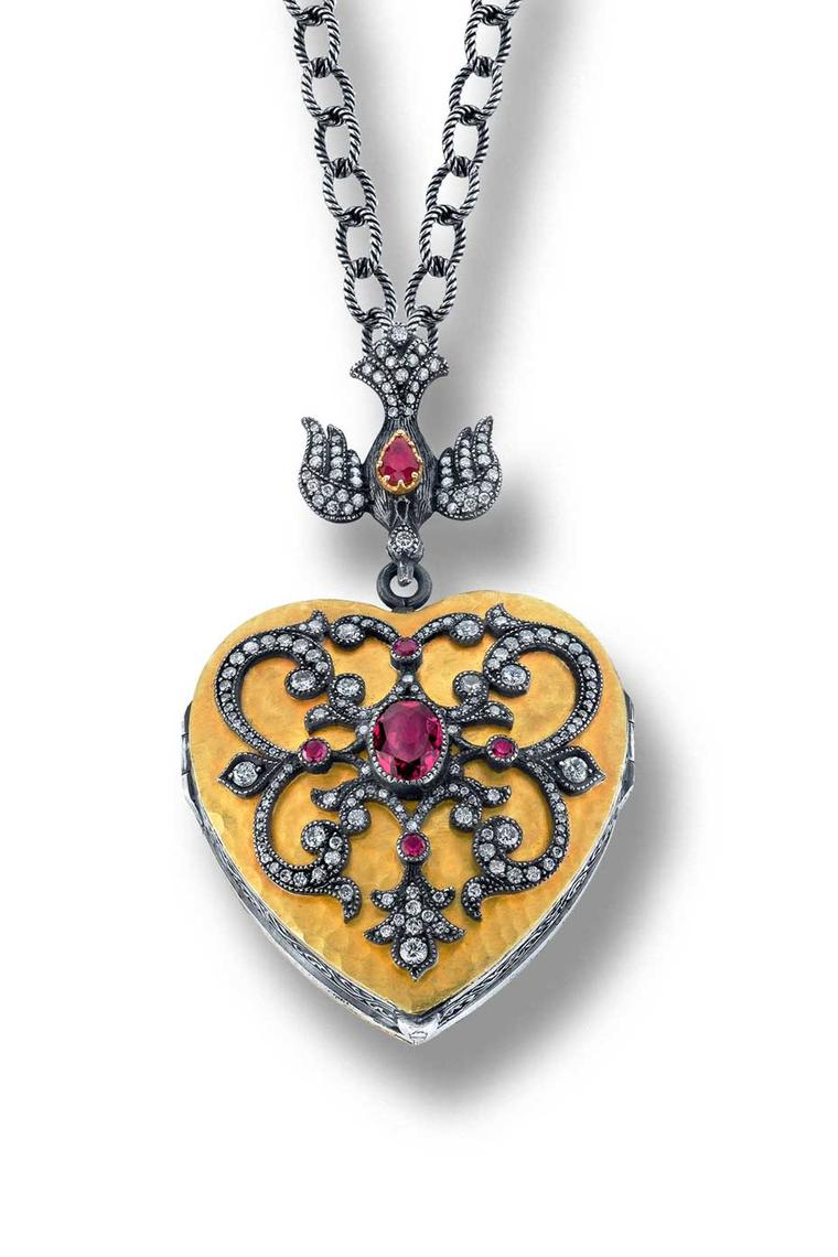 Arman Sarkisyan Heart locket with rubellites and diamonds in 22ct gold and oxidised silver.