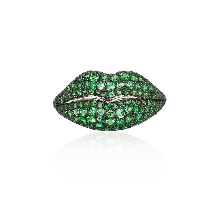 Colette Lips ring in gold set with pavé tsavorites.