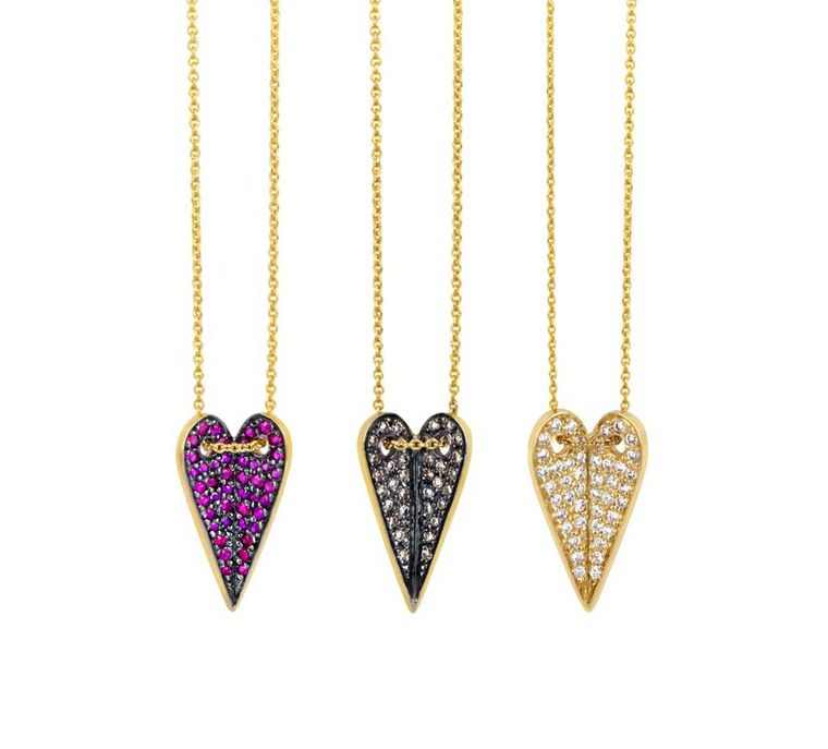 Elena Votsi Heart necklaces with sapphires, black diamonds and white diamonds, from the Eros collection.