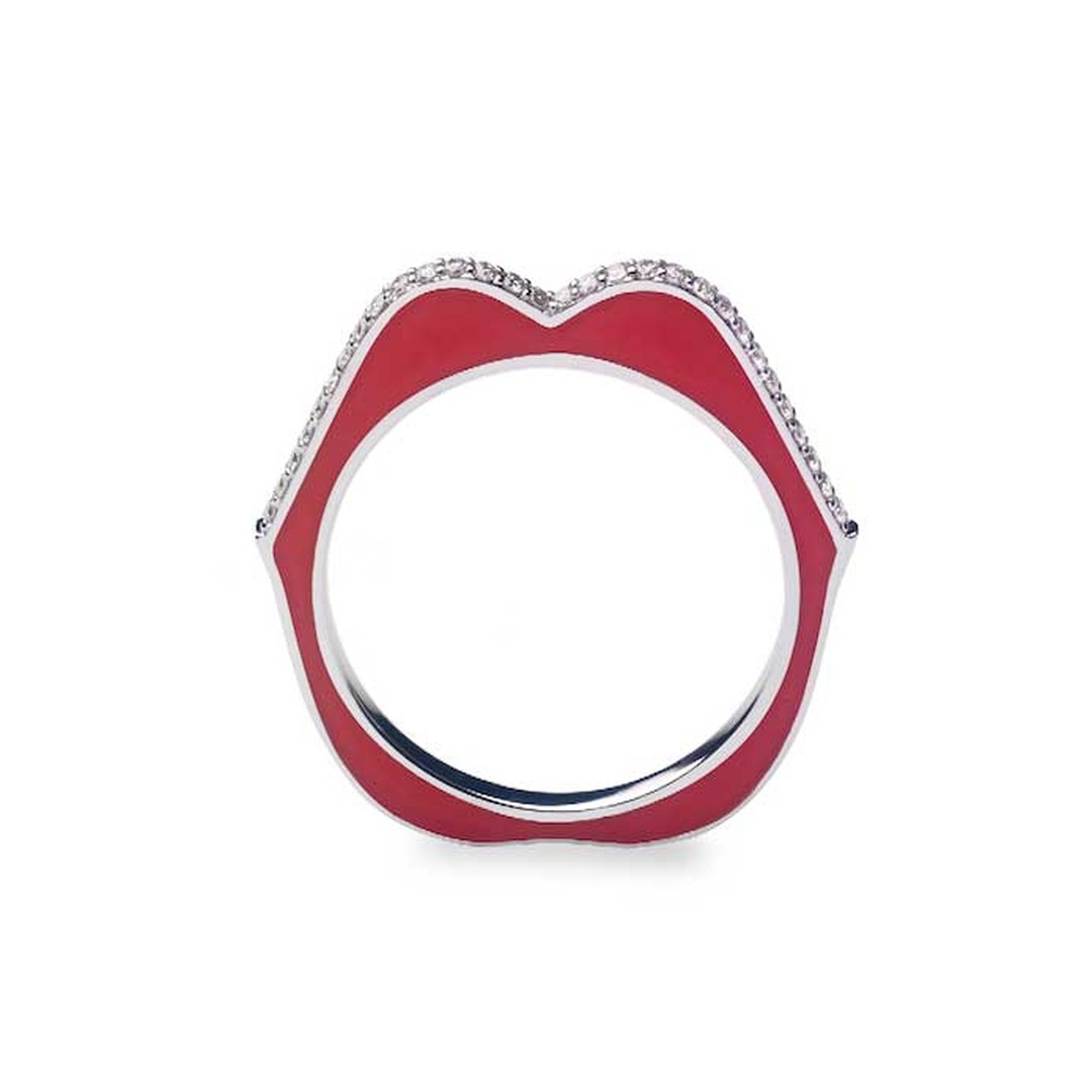 Raphaele Canot Oh My God ring in white gold, diamonds and red enamel.