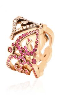 Sabine G Love ring in pink gold with white diamonds and rubies.