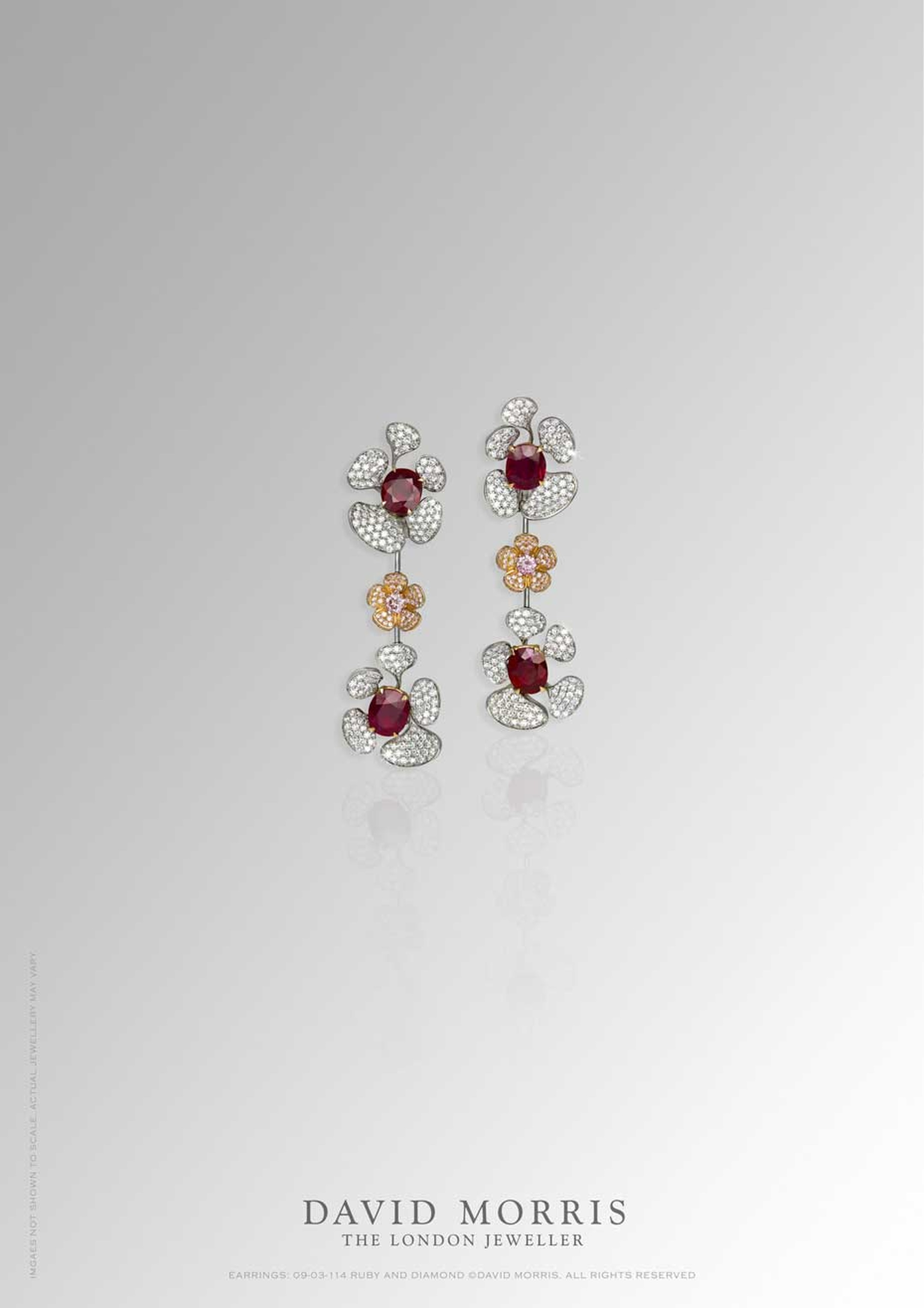 David Morris Wild Flower Burmese ruby earrings with white and pink diamonds, set with 14.37ct rubies.