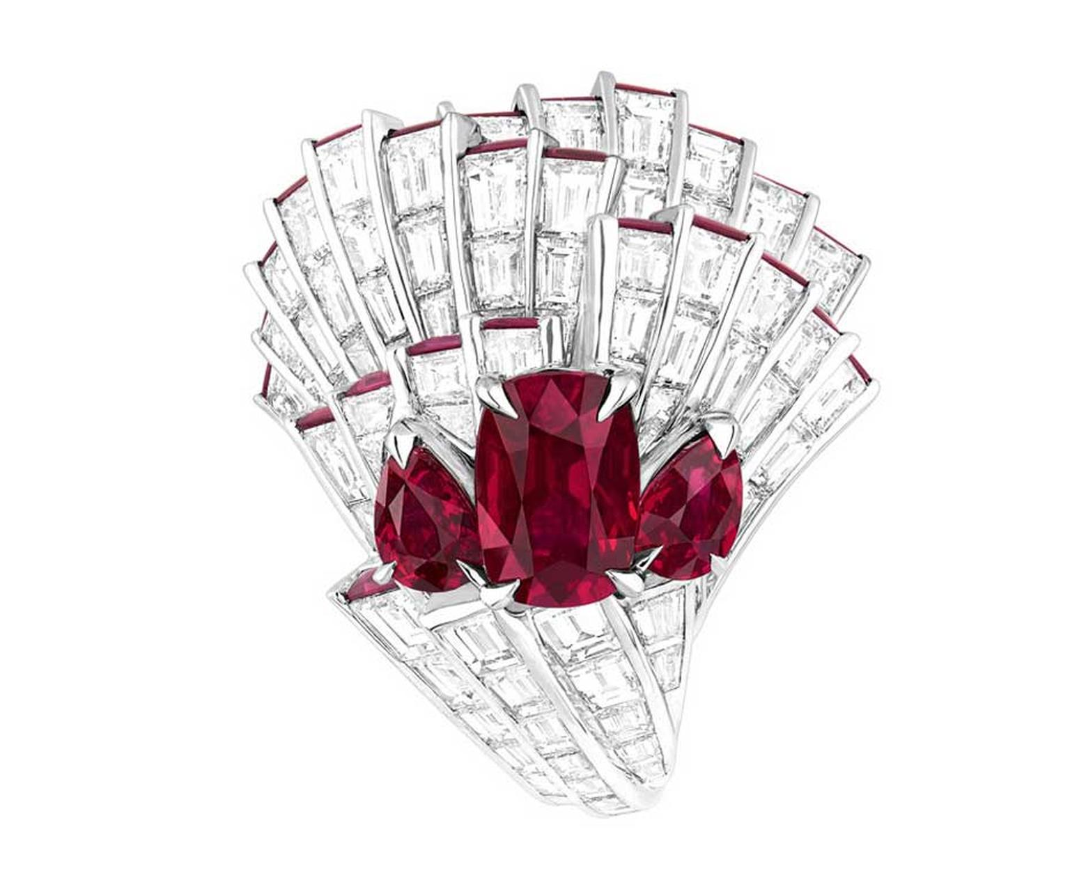 Dior Corolle Soir ruby ring from the Archi Dior high jewellery collection.