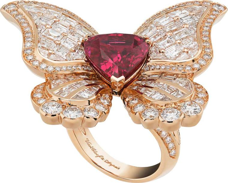 Van Cleef & Arpels Peau d'Ane Butterfly ruby ring in rose gold with a central 5.76ct pear-shaped ruby, round diamonds and square and baguette-cut rubies.