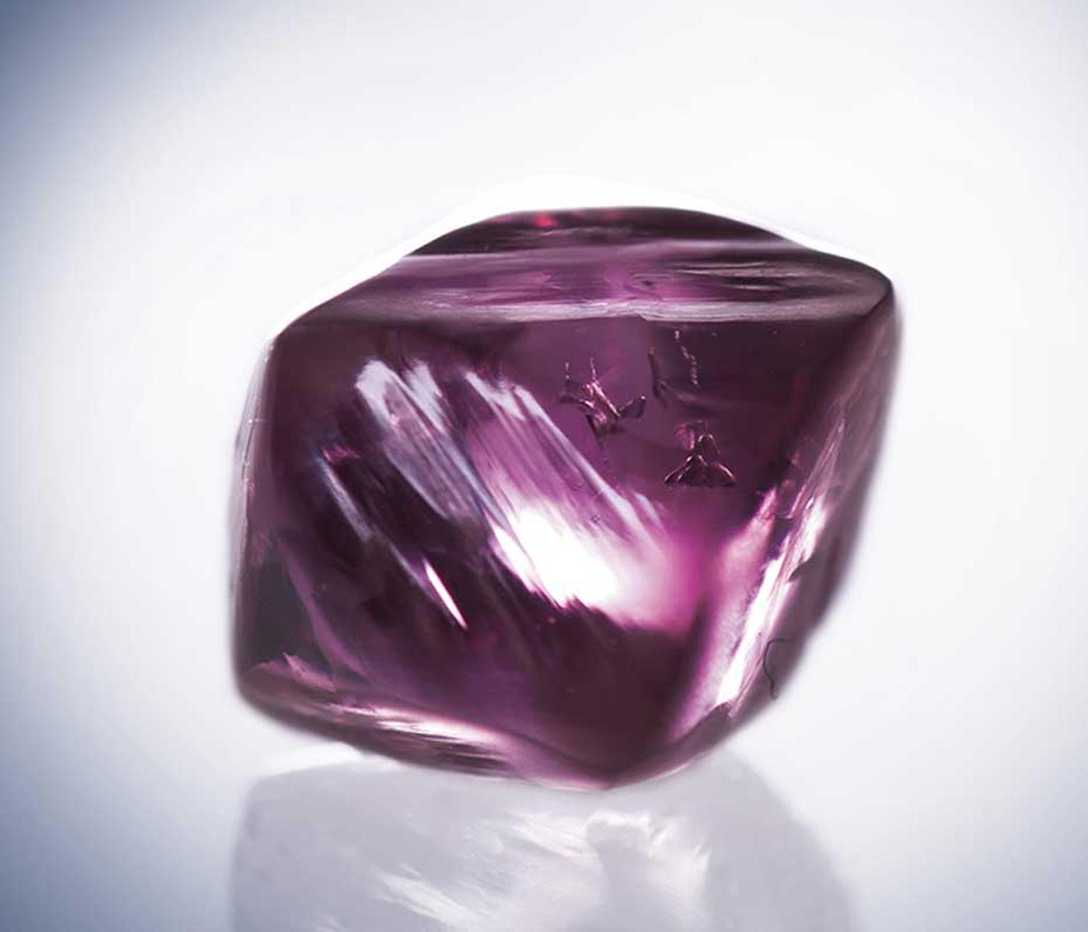 Once they have been found, rough diamonds are cut and polished. Pictured here is the Argyle Siren pink diamond before it was cut into a 1.32ct square radiant cut pink diamond.