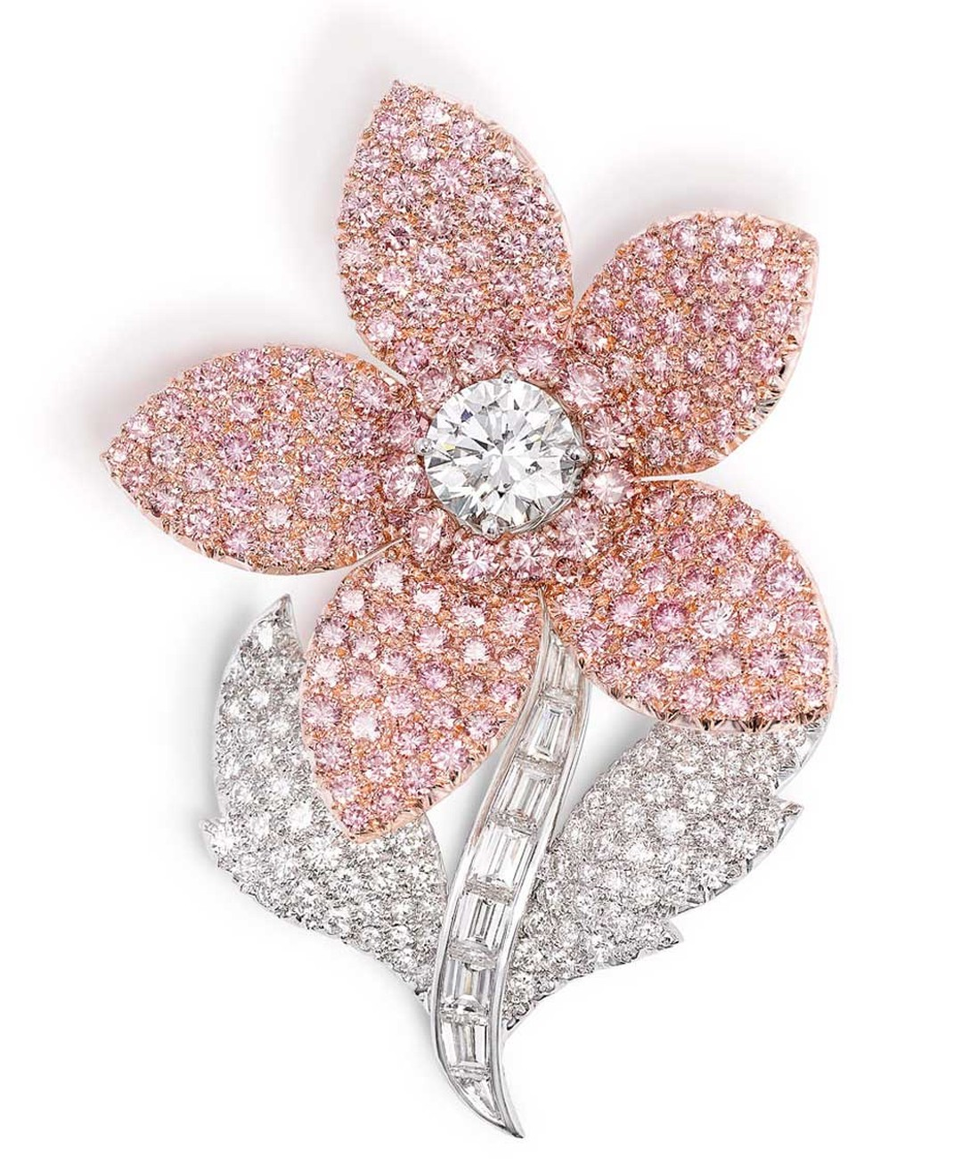 Graff pink and white diamond flower brooch featuring 177 pink diamonds totalling 9.64ct. The brooch formed part of the Argyle Pink Diamonds company's exhibition of pink diamonds in London in 2012.