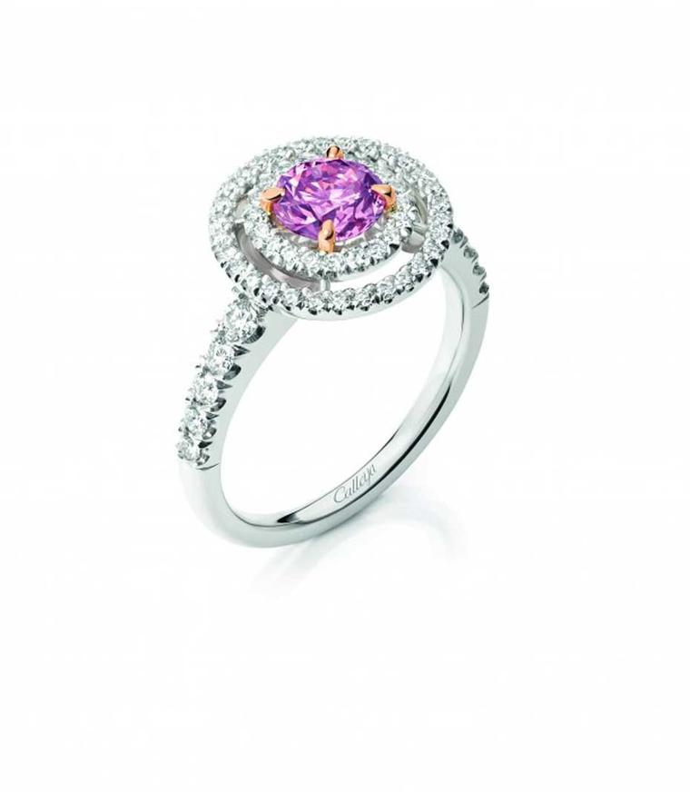 Calleija Aurora pink diamond engagement ring, set with a 0.86ct Fancy Intense Purplish Pink Argyle diamond.