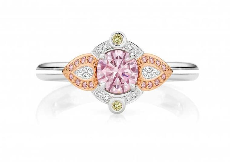 Calleija Valentia pink diamond engagement ring, set with a 0.53ct Purplish Pink Argyle pink diamond.
