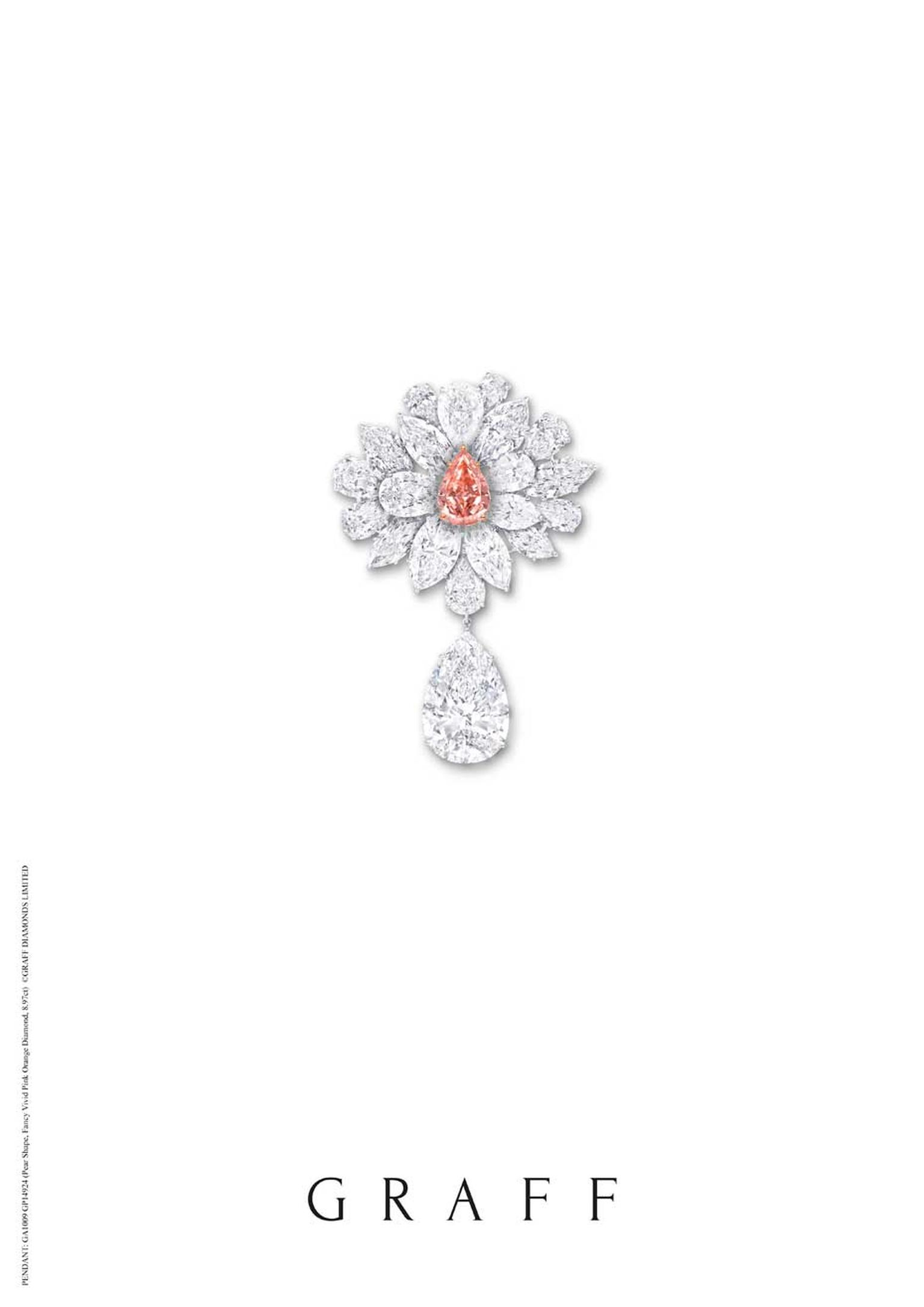 Graff Fancy Vivid pink diamond flower brooch.