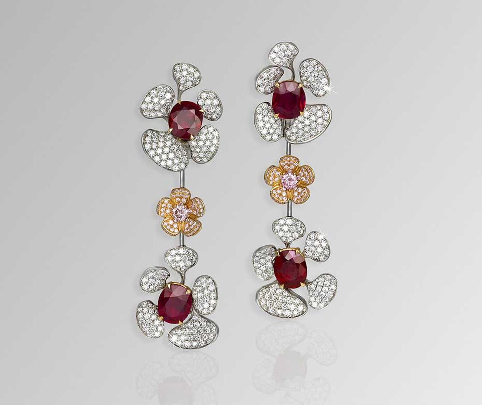 David Morris high jewellery Wild Flower Burmese ruby earrings with white and pink diamonds, set with 14.37ct rubies.