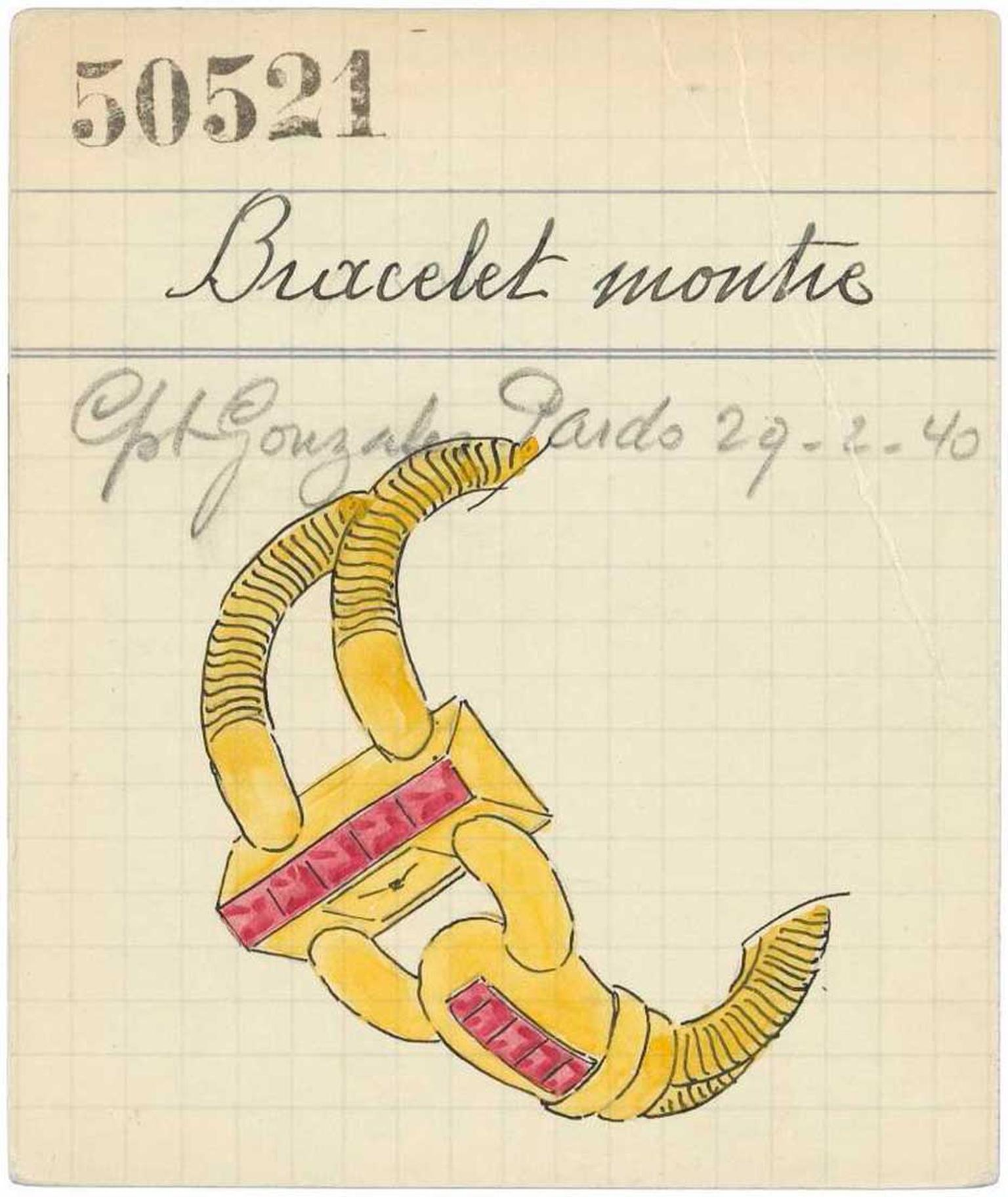 An early retail card featuring a sketch of a Van Cleef & Arpels Cadenas watch, originally created in 1935 and inspired by the American socialite Wallis Simpson.