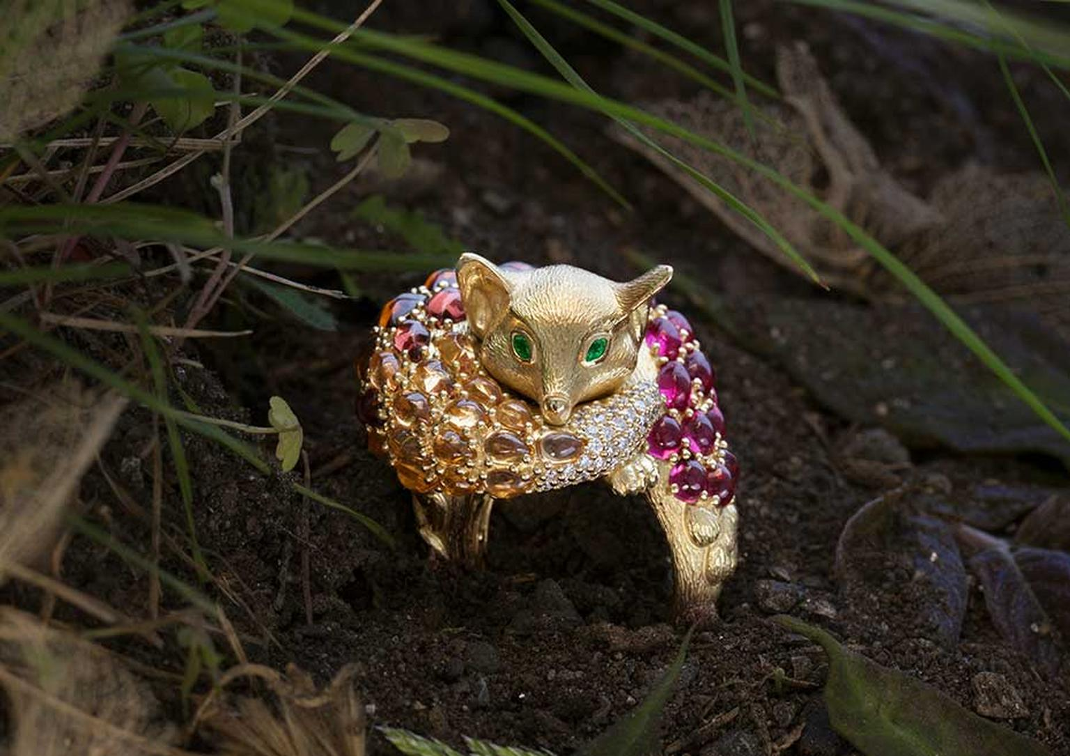Temple St. Clair Sleeping Fox ring in yellow gold with spinels, mandarin garnets, diamonds and emeralds for eyes.