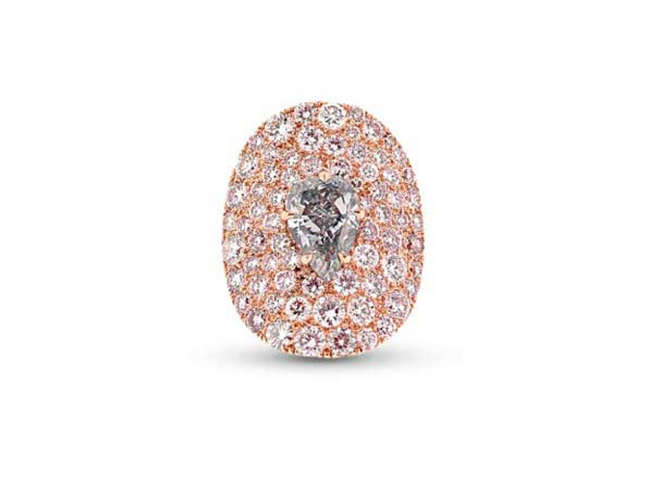 "Star Diamond ""The Tear of Paris"" ring set with a rare grey blue diamond set amongst a sea of Fancy pink diamonds."
