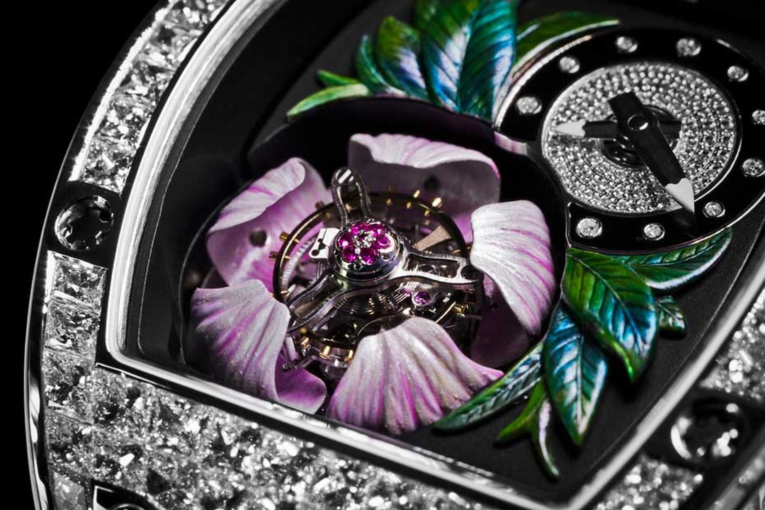 Richard Mille's new RM 19-02 Tourbillon Fleur watch recreates a magnolia flower protecting a flying tourbillon escapement with its five pink-coloured gold petals.