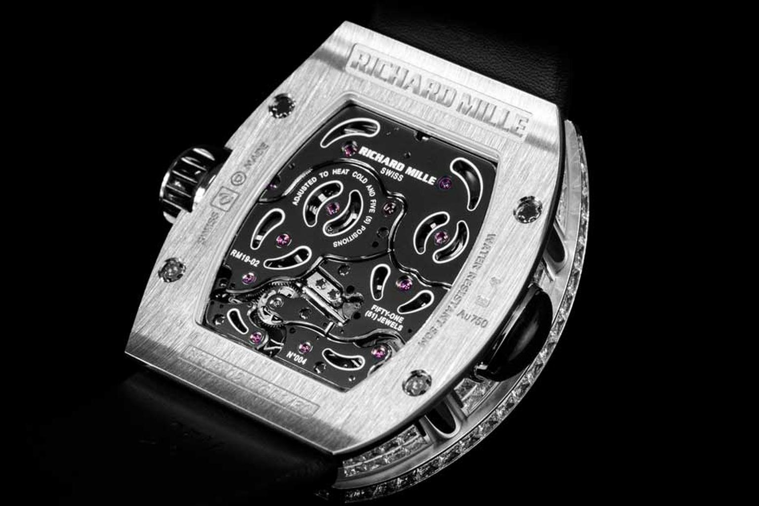 RM 19-02 Tourbillon Fleur, the new luxury ladies' watch from Richard Mille, has a tonneau-shaped case, made of three different layers.
