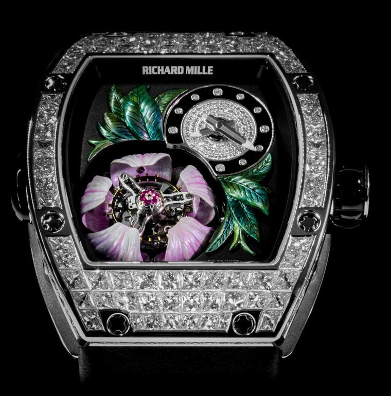 The new Richard Mille RM 19-02 Tourbillon Fleur watch is set with diamonds on the bezel, flange and hour dial.