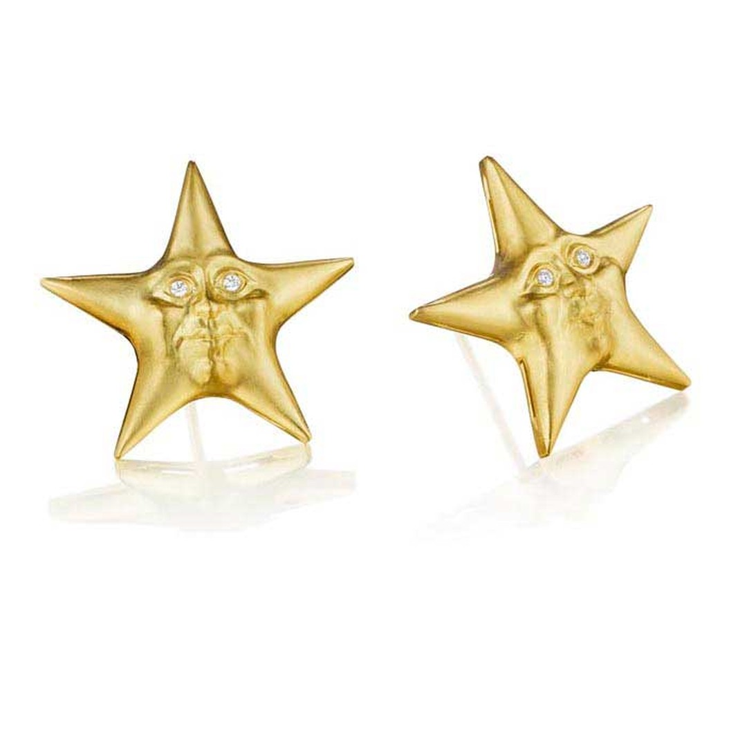 Anthony Lent Starface gold earrings with diamonds, from the Celestial collection.