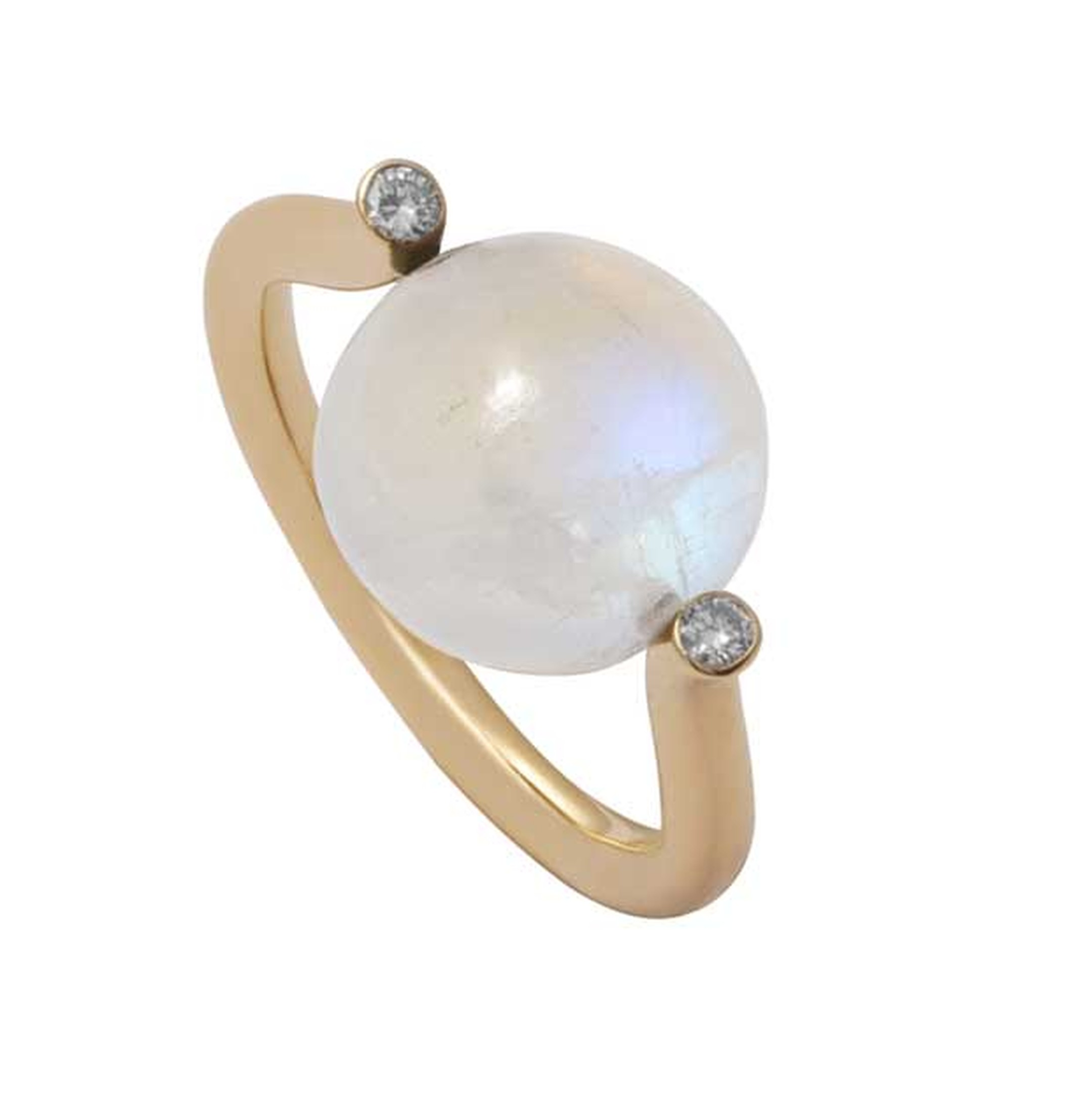 Noor Fares Celesta moonstone ring in yellow gold, from the new Tilsam collection.