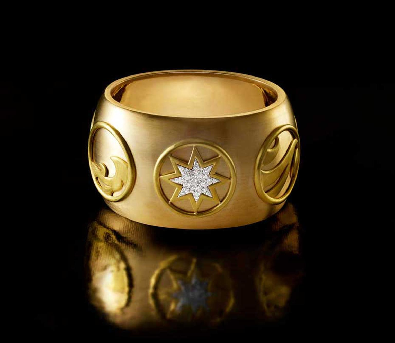 Liv Ballard Cosmos gold cuff with pavé diamonds.
