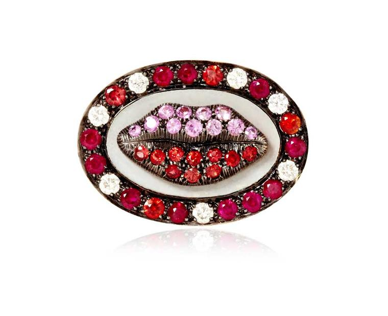 Holly Dyment Glam Madame Lip ring with pink sapphires, rubies and diamonds.