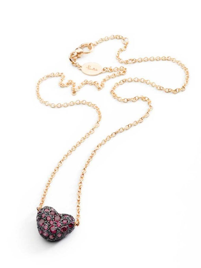 Pomellato heart-shaped Tabou necklace in rose gold and silver with rhodolite.
