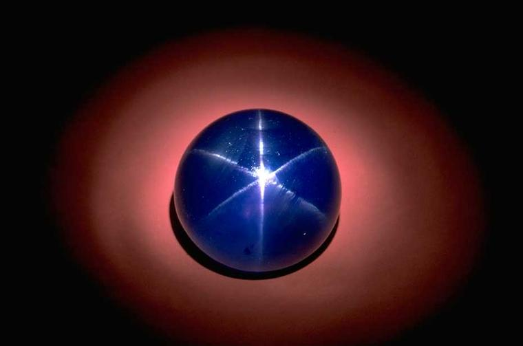The Star of Asia, a 330ct blue cabochon-cut star sapphire, is one of the finest star sapphires in the world. (Image: Chip Clark)