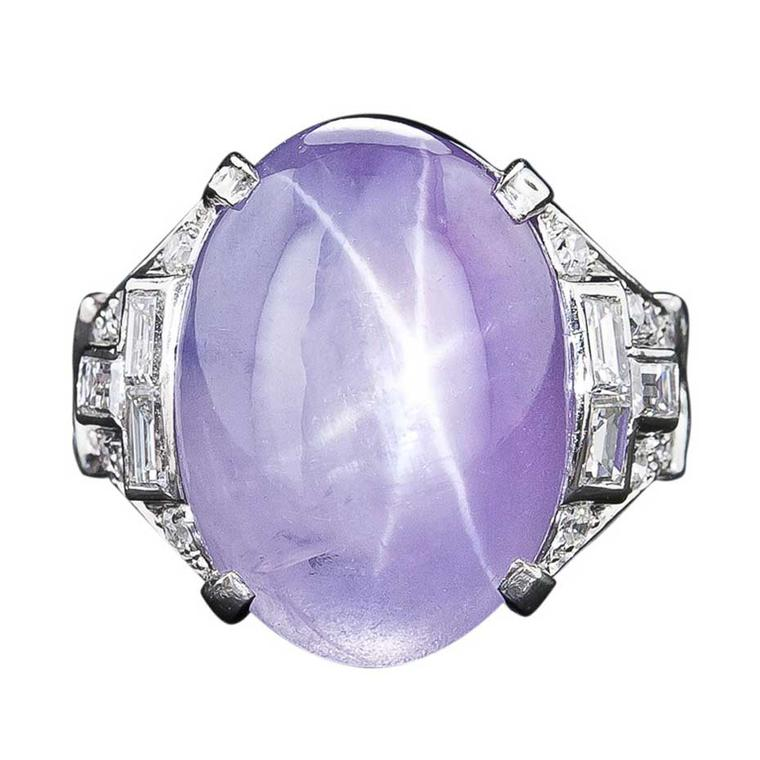Art deco lavender star sapphire ring in platinum with diamonds. Available at 1stdibs.com.