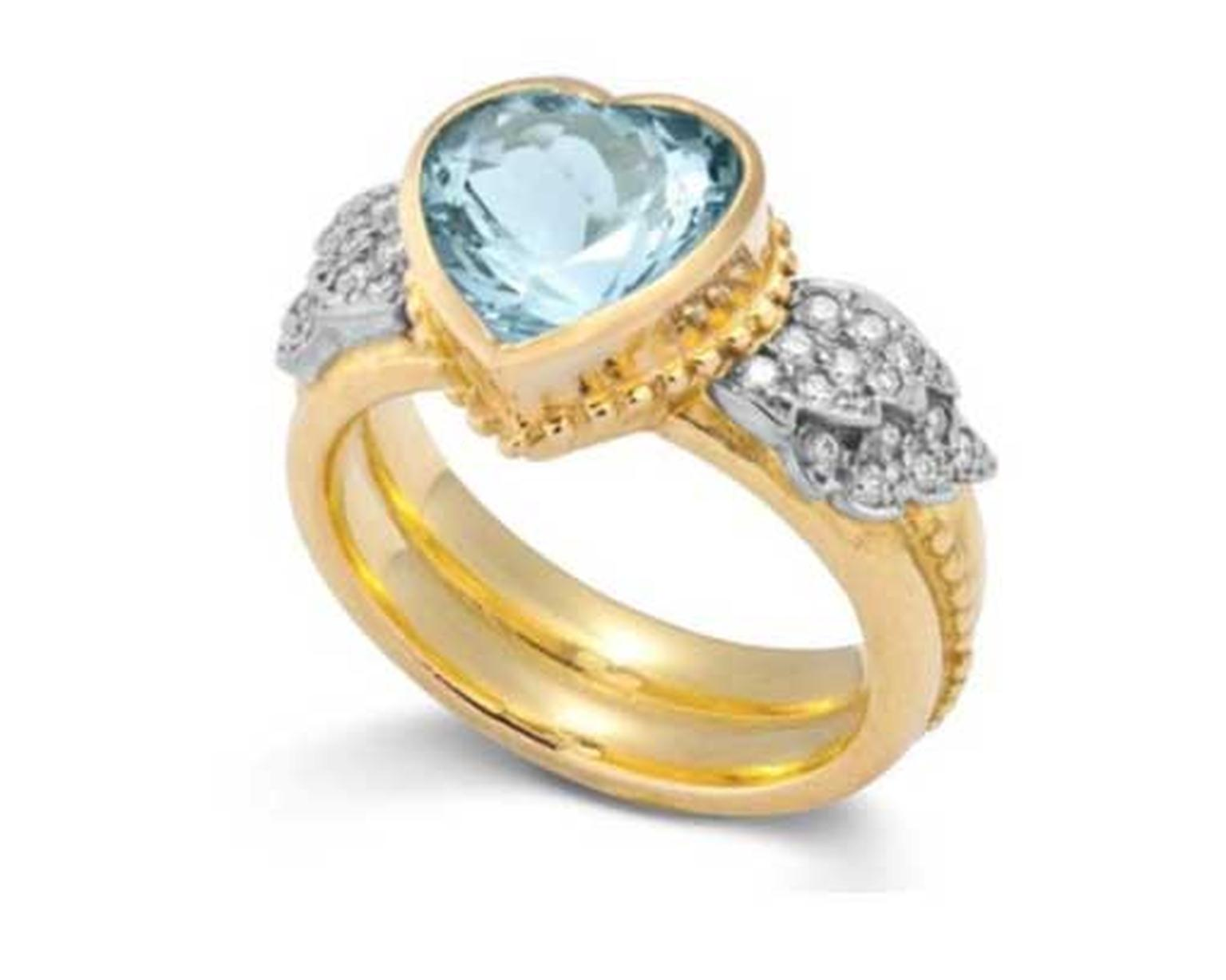 Sophie Harley aquamarine ring, set with a 2.5ct heart-shaped aquamarine flanked by pavé diamond wings.
