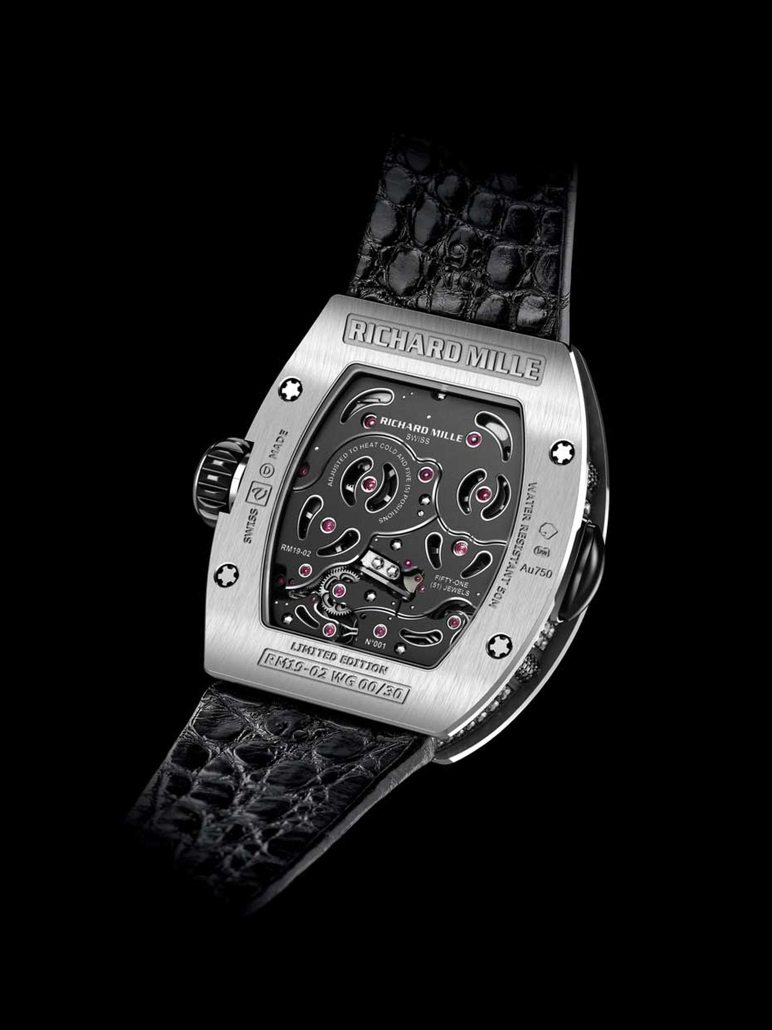 The tonneau-shaped case, made of three different layers, is a hallmark of Richard Mille watches and houses calibre RM19-02, a manual-winding tourbillon movement with hours, minutes and an automaton mechanism.