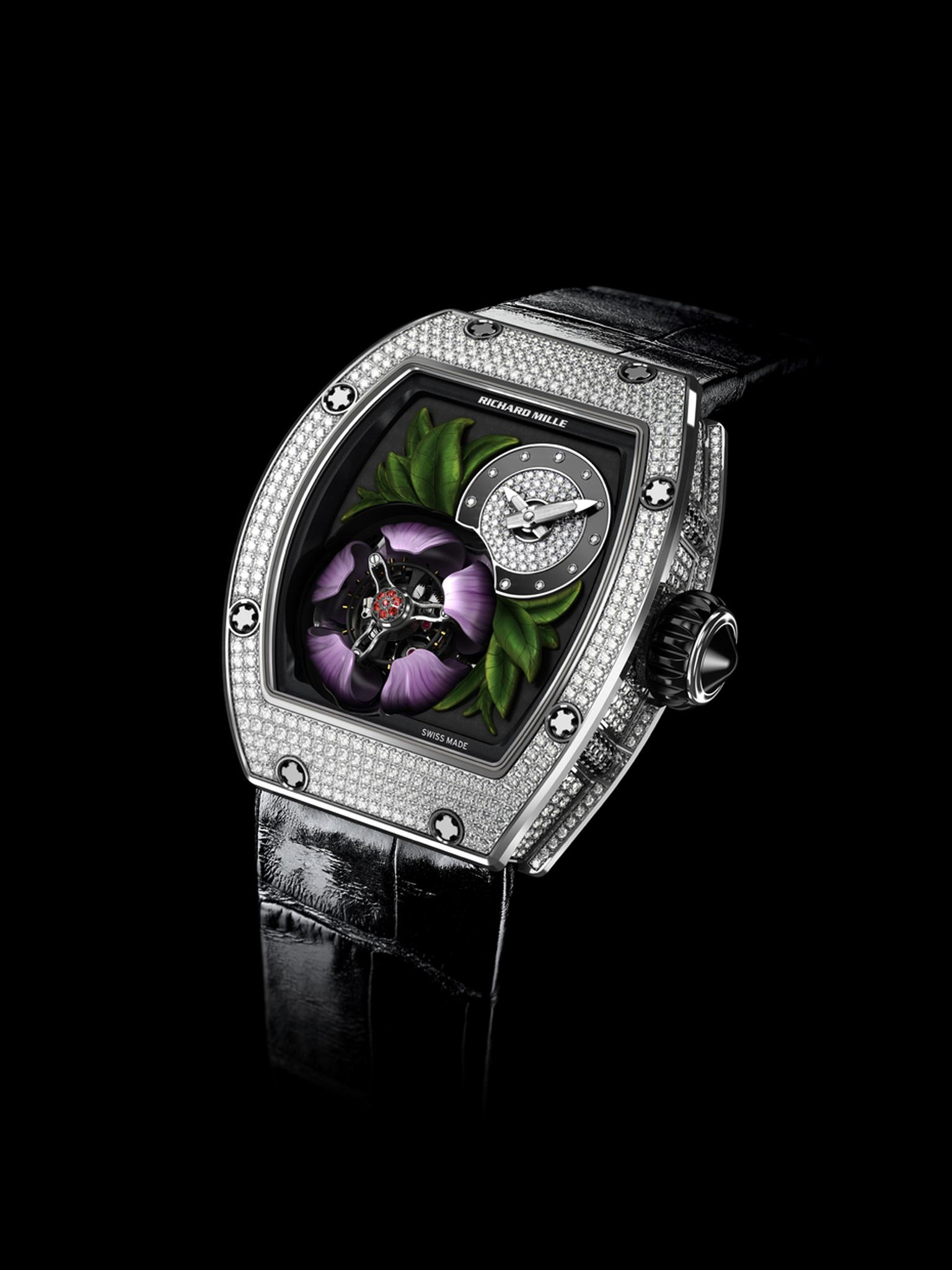 The new Richard Mille RM 19-02 Tourbillon Fleur watch is a real show-stopper, recreating a magnolia flower protecting a flying tourbillon escapement with its five pink-coloured gold petals.