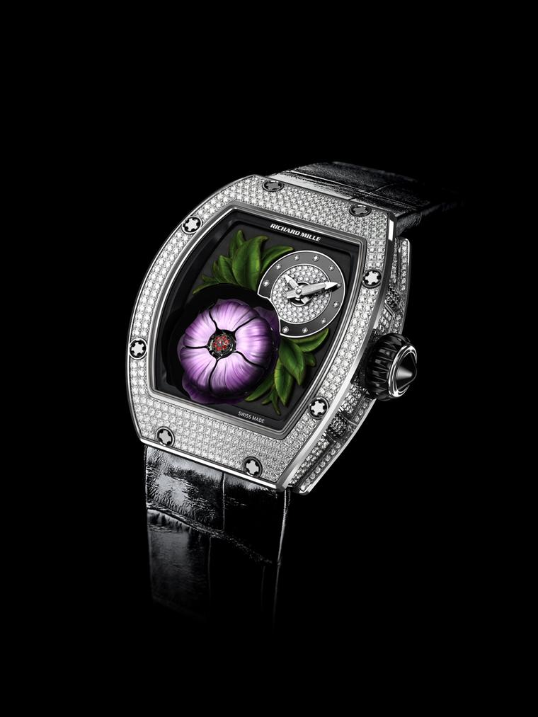 The fun really begins on the new Richard Mille Tourbillon Fleur watch when the magnolia flower opens and closes its petals at intervals of five minutes, or on demand using a pusher located at 9 o'clock.