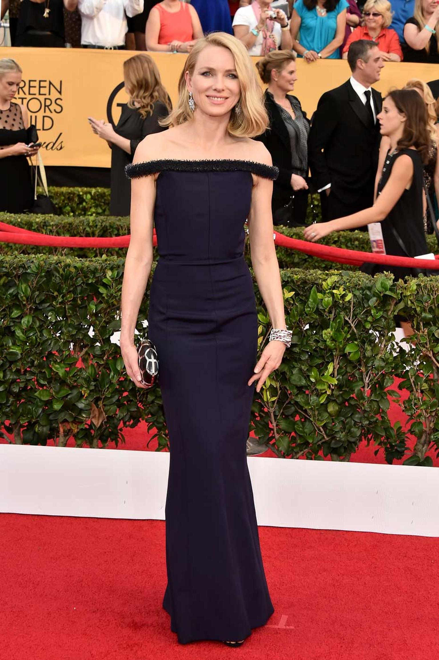 Naomi Watts was a shining star in Bulgari jewelry from the Serpenti collection at the Screen Actors Guild Awards 2015. (Kevin Mazur/Getty Images).