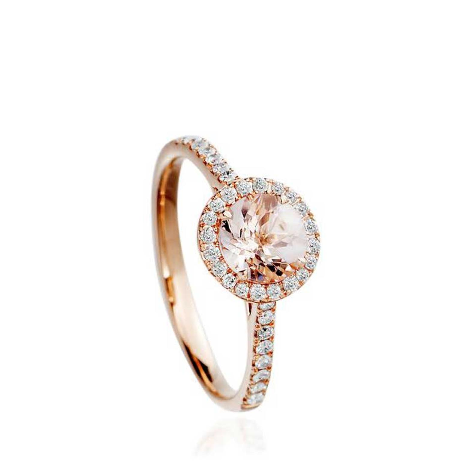 Astley Clarke Morganite Tearoom ring with a round-cut morganite surrounded by diamonds bezel set in rose gold.