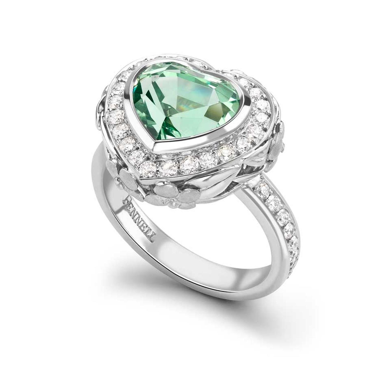 Theo Fennell tsavorite garnet ring in white gold, set with a 4.30ct heart-cut tsavorite garnet and pavé diamonds.