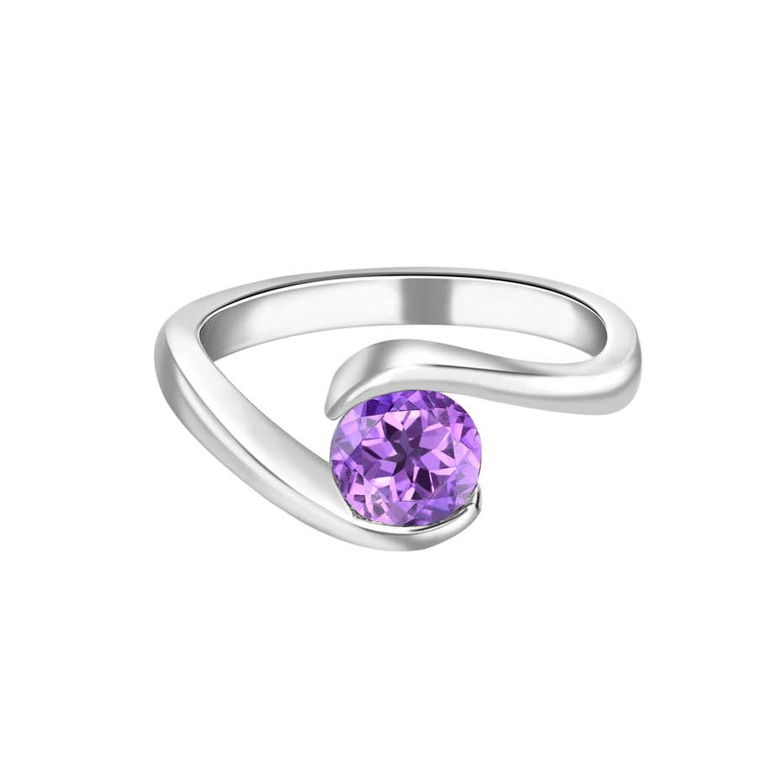 Ingle & Rhode Rhapsody purple sapphire engagement ring in platinum, set with a 0.82ct round-cut purple sapphire from a Fairtrade co-operative in Sri Lanka.