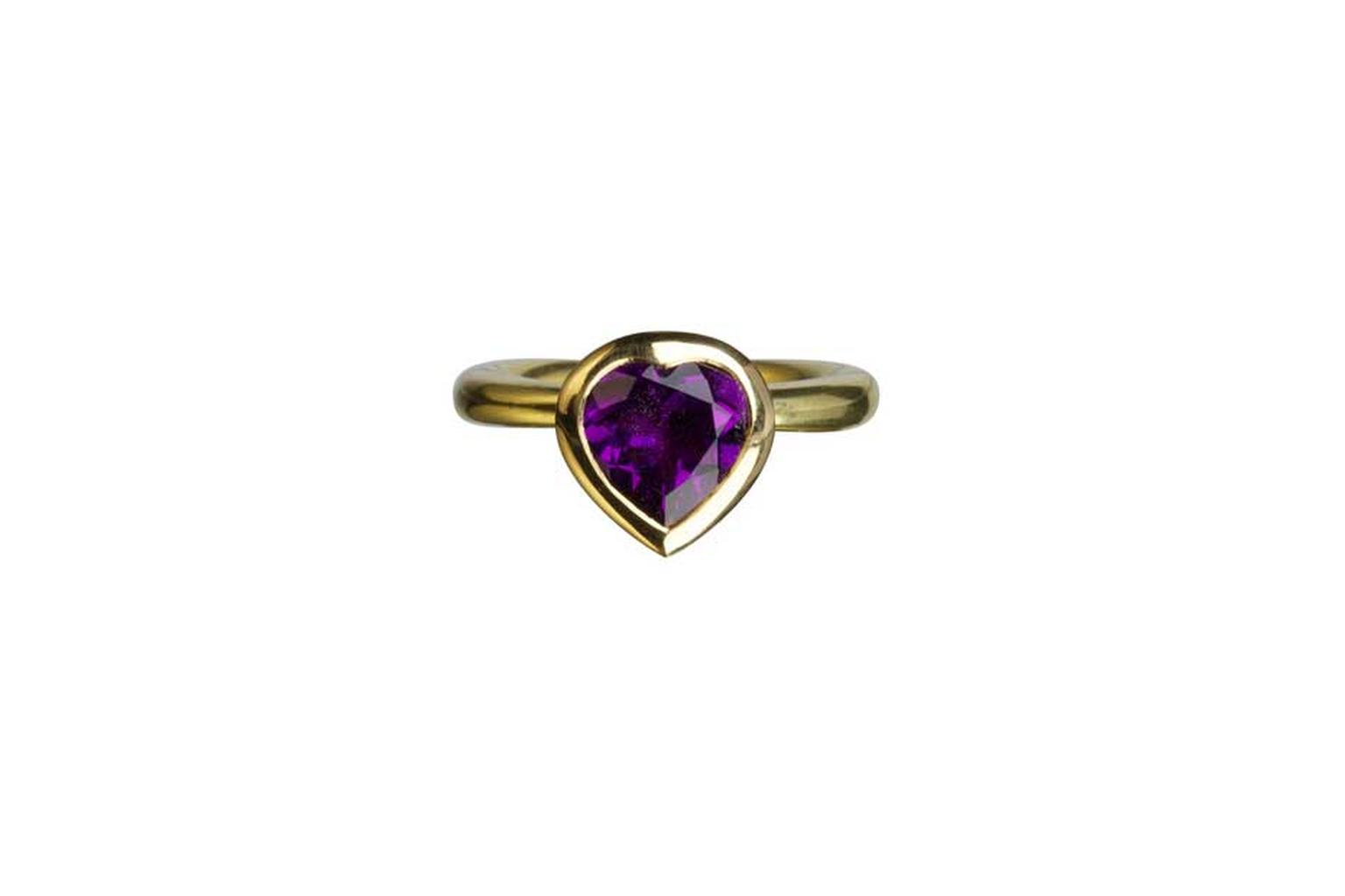 Wright & Teague purple amethyst engagement ring in yellow gold.