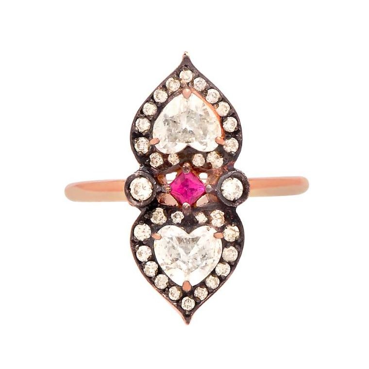 Sabine G Heart to Heart ruby engagement ring in rose gold with two heart-shaped diamonds.