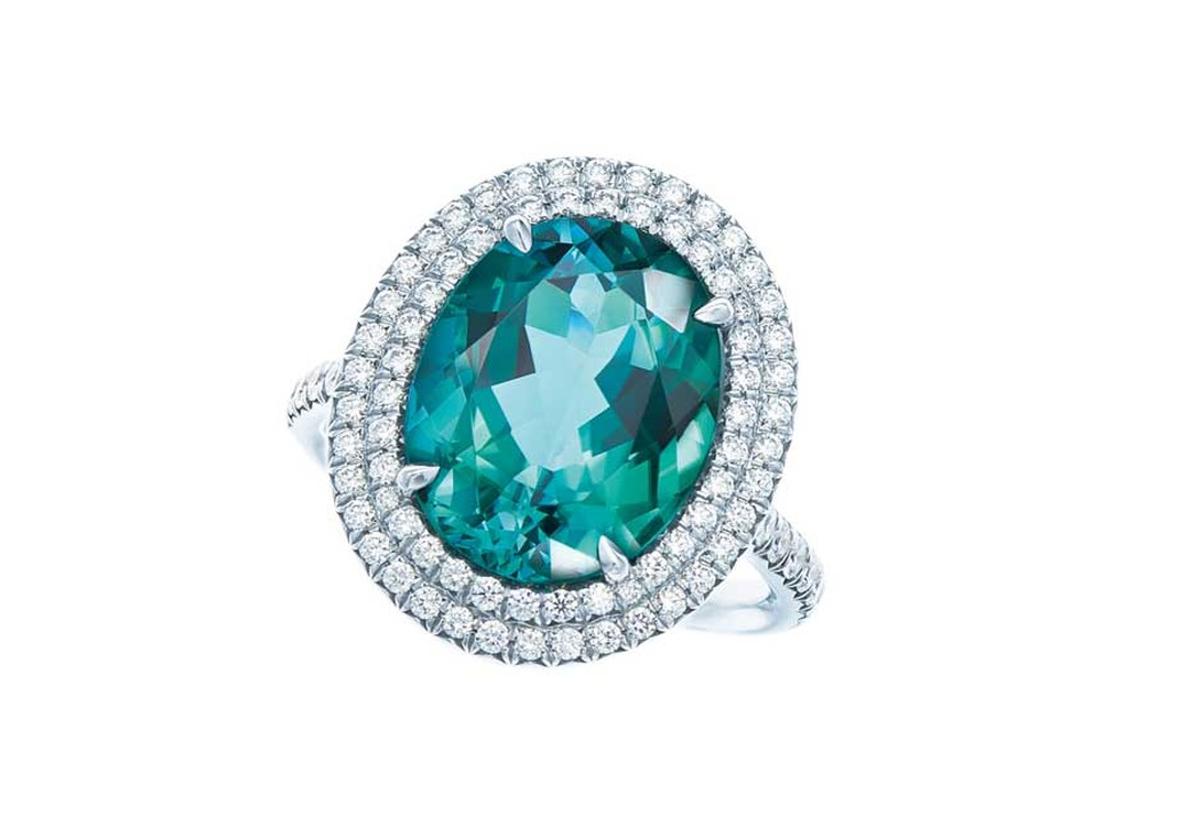 Tiffany Soleste ring in platinum with diamonds and oval-cut green tourmaline.